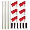 Kit de poteaux de délimitation Sport-Thieme® « Allround », Poteau blanc, fanion rouge-blanc
