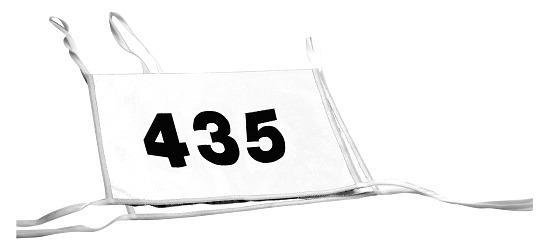 Double dossard Numéros à 3 chiffres, blanc