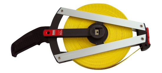 Ruban de mesure en fibre de verre, imprimé d'un côté 50 m, Poignée