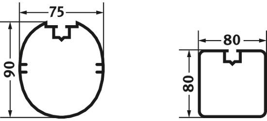 Sicherheits-Verankerungs-System 80x40 mm Quadrat-Profil 80x80 cm
