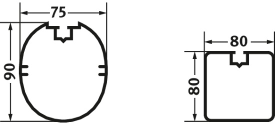 Sicherheits-Verankerungs-System Quadrat-Profil 80x80 cm