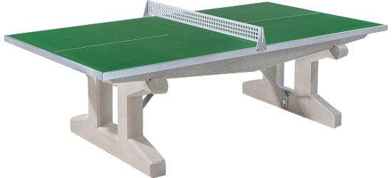 """Sport-Thieme® Polymerbeton-Tischtennisplatte """"Premium"""" Grün, Kurzer Fuss, freistehend"""