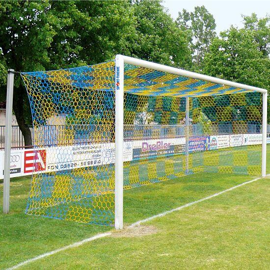 Alu-Fussballtor 7,32x2,44 m, in Bodenhülsen stehend mit freier Netzaufhängung Weiss einbrennlackiert , Netzhalter