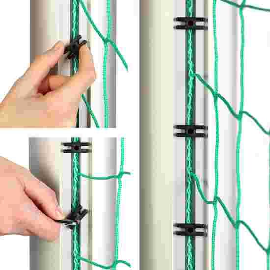 Alu-Fussballtor 7,32x2,44 m, in Bodenhülsen stehend mit freier Netzaufhängung Mattsilber eloxiert , Netzhalter
