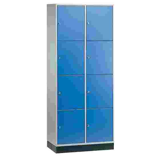 Armoire à casiers « S 4000 Intro » (4 casiers superposés) 195x82x49 cm/ 8 compartiments, Bleu gentiane (RAL 5010)