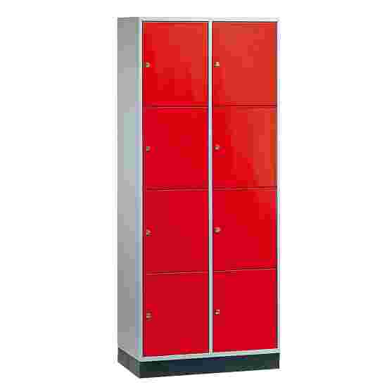 Armoire à casiers « S 4000 Intro » (4 casiers superposés) 195x82x49 cm/ 8 compartiments, Rouge feu (RAL 3000)