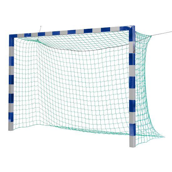 Ballon de foot en salle Sport-Thieme 3x2 m, avec fixation par fourreaux et angles d'assemblage brevetés Sans supports de filet, Bleu-argent