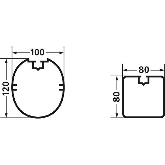 But de foot en salle 5x2 m Sport-Thieme®  Profilé carré 80x80 mm
