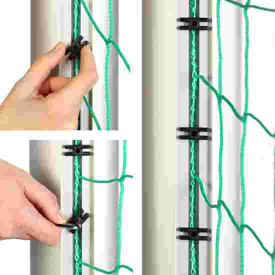 But en aluminium, 7,32x2,44 m, avec fixation par fourreaux et suspension de filet libre Argent mat anodisé, Crochets de fixation