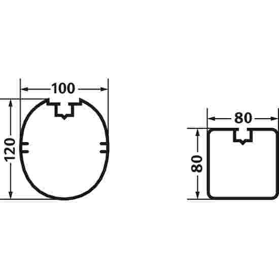 But junior en aluminium, 5x2 m, profilé ovale