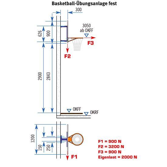 Châssis mural pour but de basket Sport-Thieme®, modèle fixe Sans réglage en hauteur