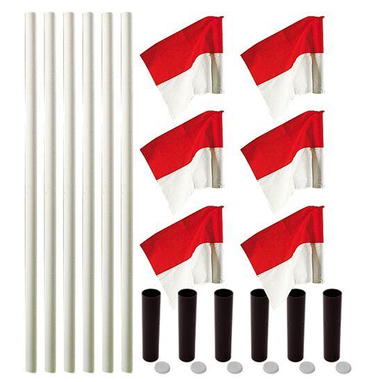 Kit de poteaux de délimitation Sport-Thieme® « Allround » Poteau blanc, fanion rouge-blanc