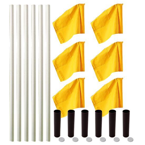 Kit de poteaux de délimitation Sport-Thieme® « Allround » Poteau blanc, fanion jaune fluo