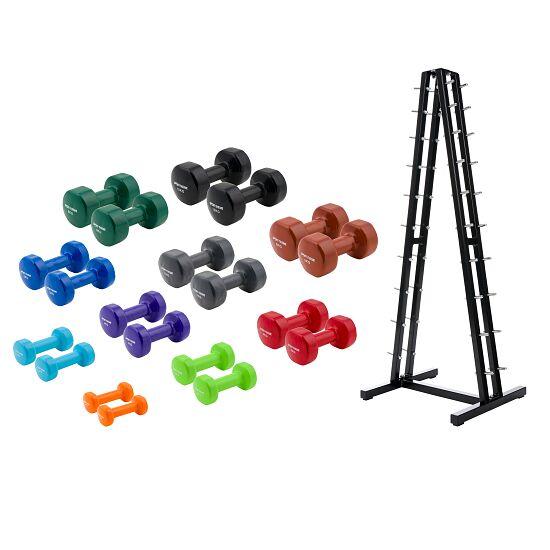Kit d'haltères courts Sport-Thieme® Vinyle 1-10 kg, avec support