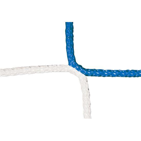 Knotenloses Herrenfussball-Tornetz mit Schachbrettmuster Blau-Weiss