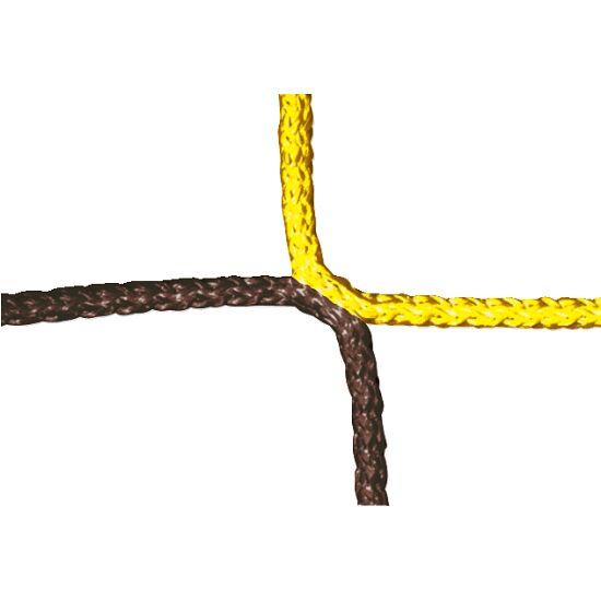 Knotenloses Herrenfussball-Tornetz mit Schachbrettmuster Gelb-Schwarz