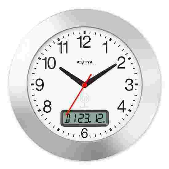 Peweta Funkwanduhr mit Datumanzeige Mattsilber