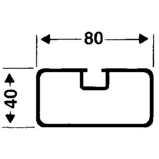 Roulettes de transport pour buts autostables Profilé rectangulaire 80x40 mm, Rainure de profil classique