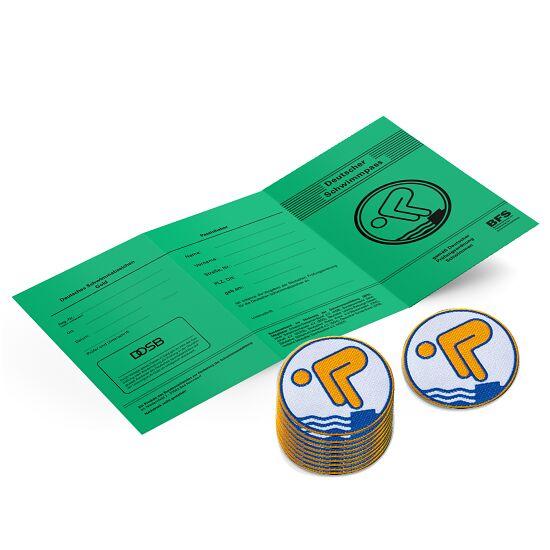 Set Jugend-Schwimmabzeichen inkl. Zeugnissen Gold, Mit Bügelbeschichtung, rund lasergeschnitten