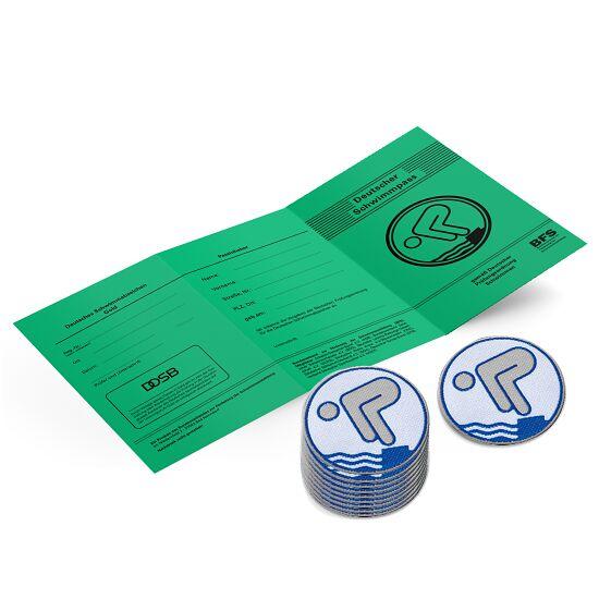 Set Jugend-Schwimmabzeichen inkl. Zeugnissen Silber, Mit Bügelbeschichtung, rund lasergeschnitten