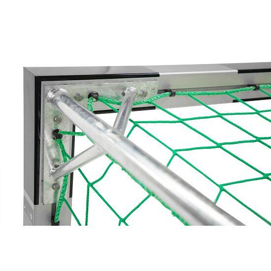 Sport-Thieme Hallenfussballtor 3x2 m, in Bodenhülsen stehend mit Eckverbindung Mit feststehenden Netzbügeln, Schwarz-Silber
