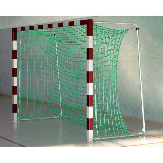 Sport-Thieme Hallenfussballtor 3x2 m, in Bodenhülsen stehend mit Eckverbindung Mit anklappbaren Netzbügeln, Rot-Silber