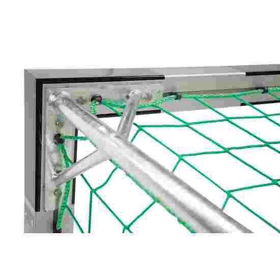 Sport-Thieme Hallenfussballtor 3x2 m, in Bodenhülsen stehend mit Premium-Stahl-Eckverbindung Mit feststehenden Netzbügeln, Schwarz-Silber
