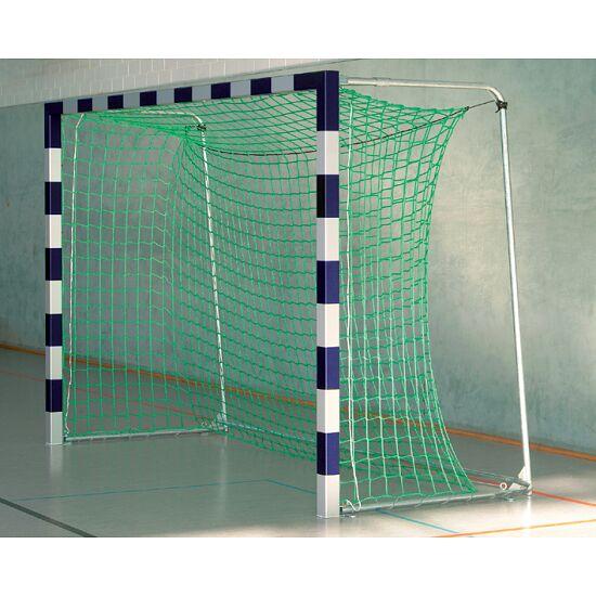 Sport-Thieme Hallenfussballtor 3x2 m, in Bodenhülsen stehend mit Premium-Stahl-Eckverbindung Mit anklappbaren Netzbügeln, Blau-Silber