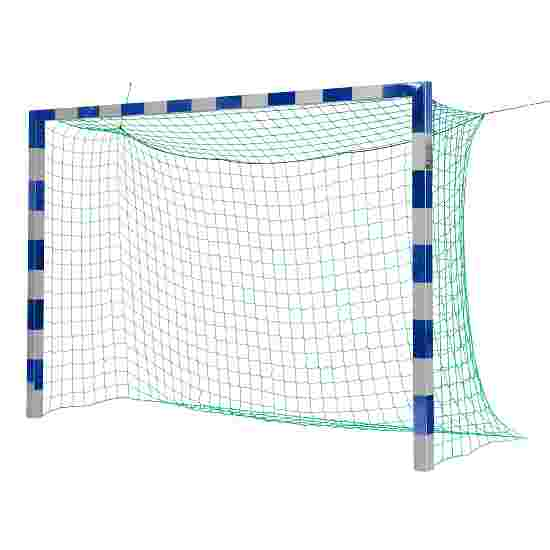 Sport-Thieme Hallenfussballtor 3x2 m, in Bodenhülsen stehend mit Premium-Stahl-Eckverbindung Ohne Netzbügel, Blau-Silber
