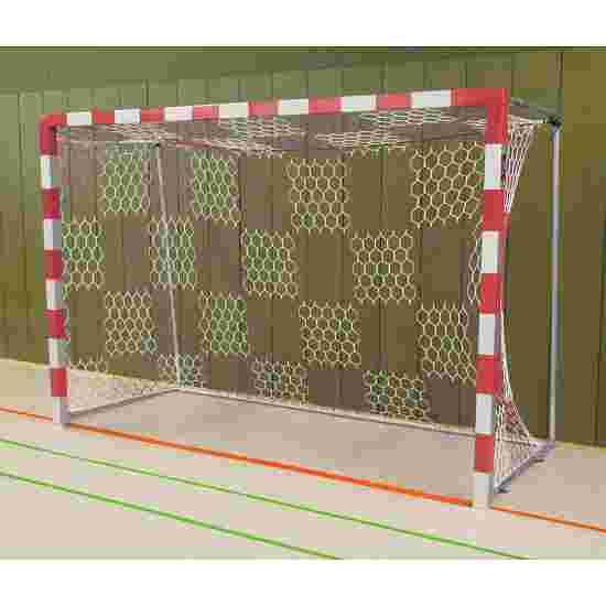 Sport-Thieme Hallenhandballtor  3x2 m, frei stehend mit feststehenden Netzbügeln Verschraubte Eckverbindungen, Rot-Silber