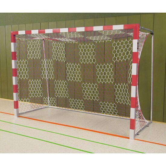 Sport-Thieme Hallenhandballtor  3x2 m, frei stehend mit feststehenden Netzbügeln Verschweisste Eckverbindungen , Rot-Silber