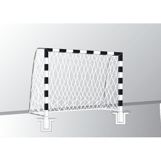 Sport-Thieme® Hallenhandballtor  3x2 m, in Bodenhülsen stehend Verschraubte Eckverbindungen, Schwarz-Silber
