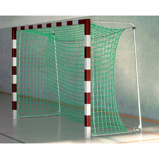 Sport-Thieme® Hallenhandballtor 3x2 m, in Bodenhülsen stehend Mit anklappbaren Netzbügeln, Rot-Silber