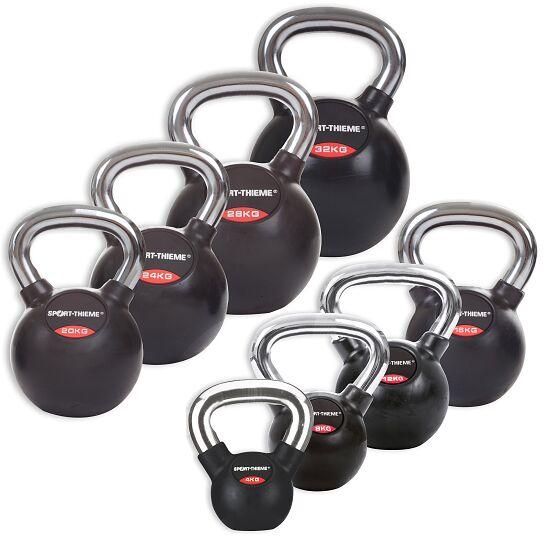 Sport-Thieme® Kettlebell Set gummiert mit glattem Chrom-Griff Komplett