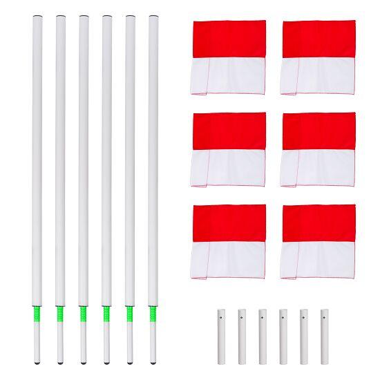 Sport-Thieme Kit de poteaux de délimitation articulés Fanion rouge et blanc