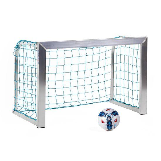Sport-Thieme Mini but d'entraînement avec supports de filet pliables 1,20x0,80 m, profondeur 0,70 m, Filet inclus, bleu (mailles 10 cm)
