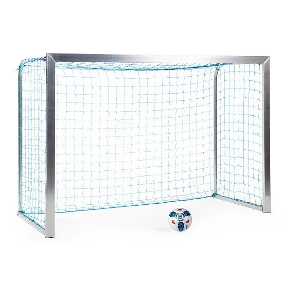 Sport-Thieme Mini but d'entraînement avec supports de filet pliables 2,40x1,60 m, profondeur 1,00 m, Filet inclus, bleu (mailles 4,5 cm)