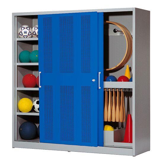 Sportgeräteschrank, HxBxT 195x190x60 cm, mit Lochblech-Schiebetüren (Typ 5) Enzianblau (RAL 5010), Lichtgrau (RAL 7035)