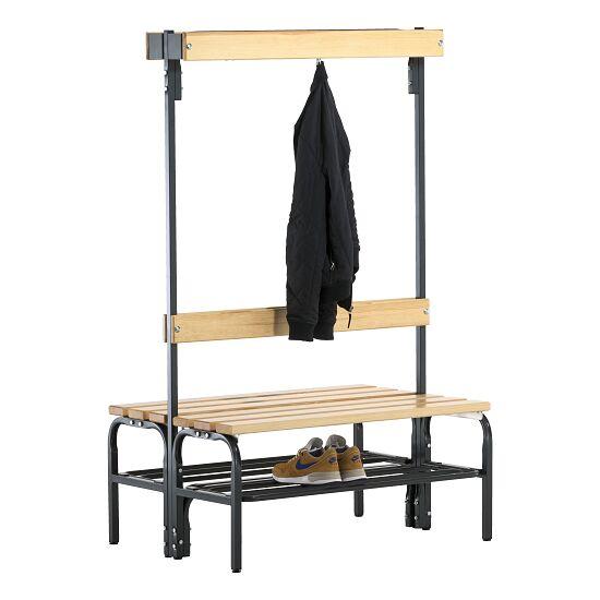 Sypro Wolf® Umkleidebank für Trockenräume mit Rückenlehne, doppelseitig 1,01 m , Mit Schuhrost