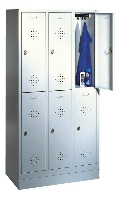 Armoire vestiaire double « S 2000 Classic » avec socle 100 mm 180x90x50 cm/ 6 compartiments, 30 cm