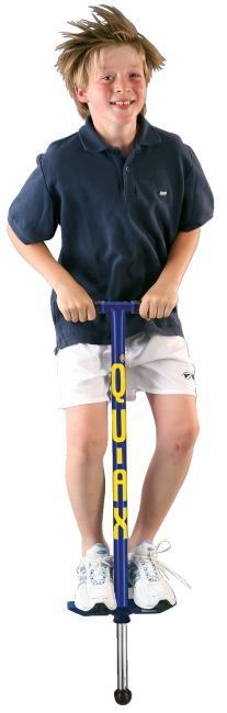 Bâton sauteur Qu-Ax® Pogo-Stick Bleu, L : 98 cm, jusqu'à 50 kg