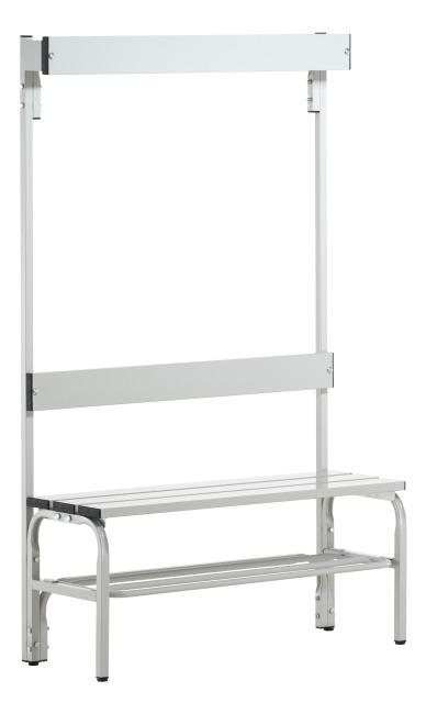 Banc de vestiaire Sypro Wolf® pour espaces mouillés avec dossier 1,01 m, Avec grille à chaussures