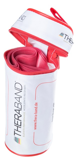 Bande Thera-Band® 250 cm avec tube de rangement Rouge, moyen