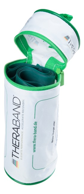Bande Thera-Band® 250 cm avec tube de rangement Vert, difficile