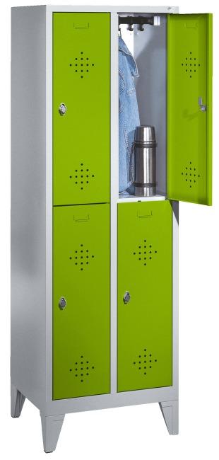 """C+P Doppel-Garderobenschrank """"S 2000 Classic"""" mit 15 cm hohen Füssen 185x61x50 cm / 4 Fächer, 30 cm"""