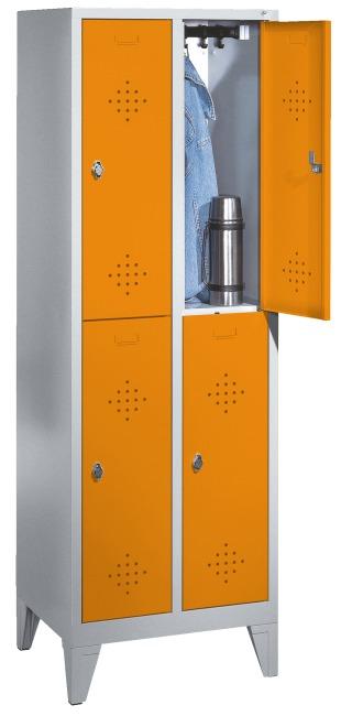 """Doppel-Garderobenschrank """"S 2000 Classic"""" mit 150 mm hohen Füssen 185x61x50 cm / 4 Fächer, 300 mm"""
