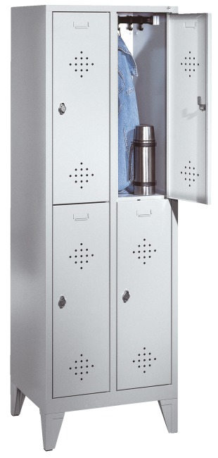 """Doppel-Garderobenschrank """"S 2000 Classic"""" mit 150 mm hohen Füssen 185x81x50 cm/ 4 Fächer, 400 mm"""