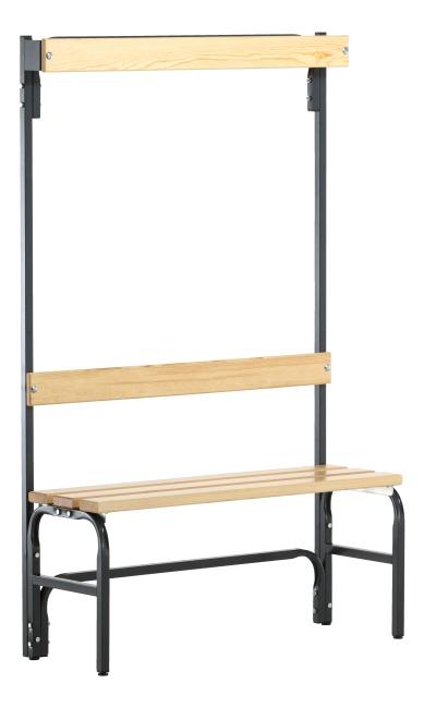 Sypro Wolf® Umkleidebank für Trockenräume mit Rückenlehne 1,01 m , Ohne Schuhrost