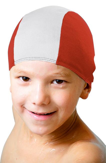 Textil-Schwimmkappen Rot-Weiss, Kinder