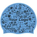 Bonnet de bain imprimé en silicone Bleu, Recto-verso